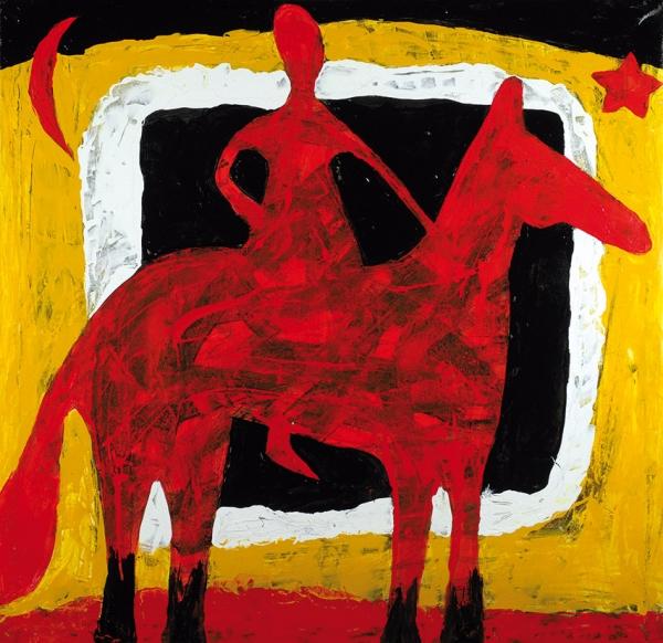Долженко Александр. «Красный конь». 1991. Холст, акрил. 95×97см. Наподрамнике.