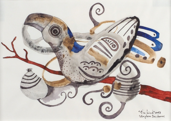 Досчанов Улугбек. «The bird». 2016. Бумага, тушь, перо, акварель. 20×28,7см (всвету).