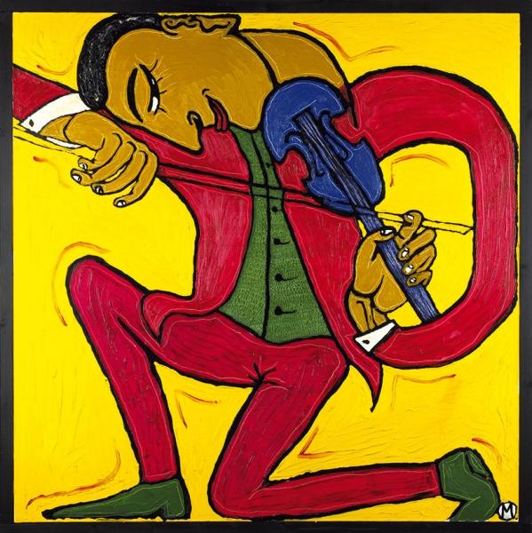 Моисеев Лев. «Скрипач» (посвящается Яше Хейфецу). 2016. Холст, масло. 80×80см. Враме— 83,5×83,5см.