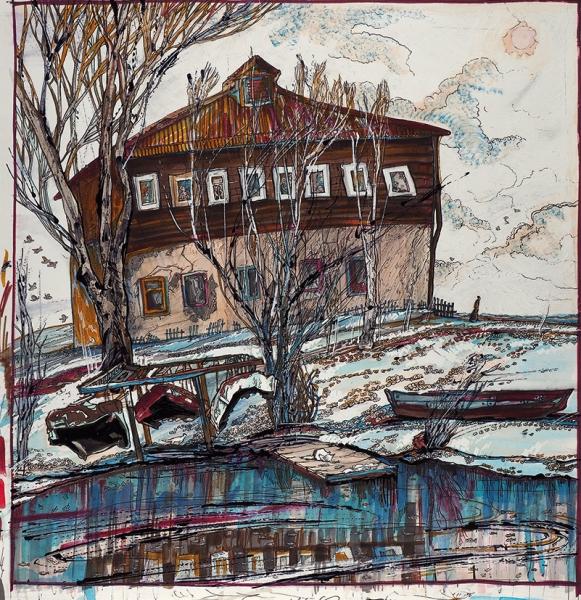 Просёлкова Екатерина. «Наберегу реки Трубеж». 2017. Бумага, смешанная техника.39,5×38,6см.