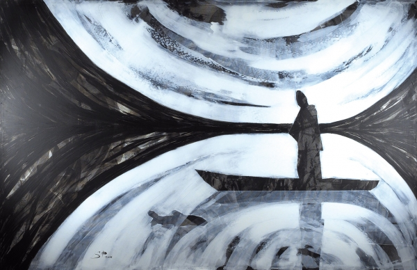 Пятницкая Софья. «Рыбак». 2016. Холст, акрил. 200×130см. Наподрамнике.