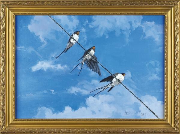 Русляков Александр. «Трио». 2014. Картон, масло. 35×50см. Враме.