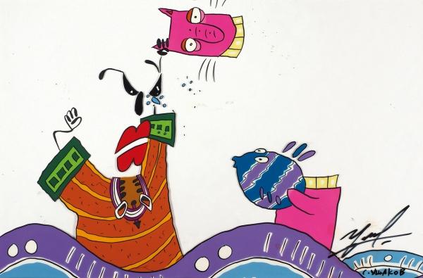 Ушаков Святослав. Фаза движения изклипа группы «Ногу Свело» «Хару Мамбуру». 1993. Целлулоид, акрил.18,7×28,7см (всвету).