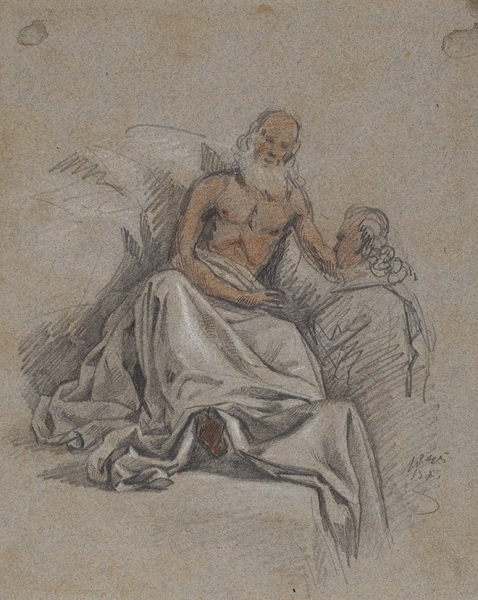 Худяков Василий Григорьевич (1826–1871) (?) «Мудрец». 1845. Бумага, карандаш, белила, 20,2×16см.