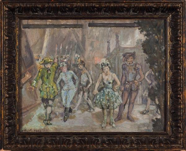 Ларионов Михаил Фёдорович (1881–1964) «Закулисами». 1899. Холст накартоне, масло, 38,5×49,5см.