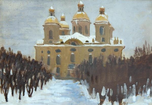 Серебрякова Зинаида Евгеньевна (1884–1967) «Никольский собор». 1910. Бумага, темпера, 19×27см (всвету).