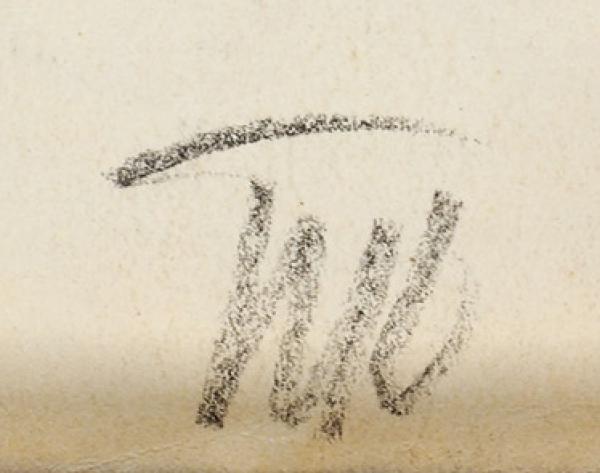 Кончаловский Петр Петрович (1876–1956) «Натурщица сруками заголовой». 1917. Бумага, угольный карандаш, 53,5×34,5см (всвету).