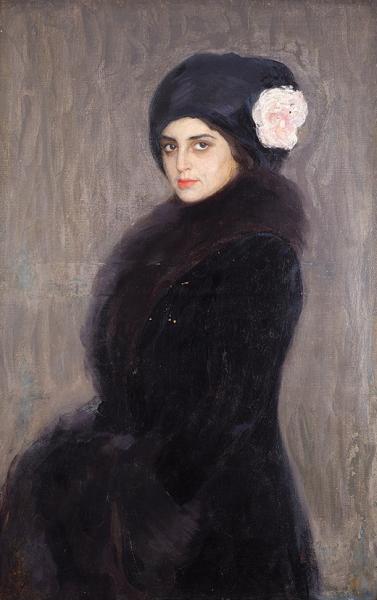 Сорин Савелий Абрамович (1878–1953) «Портрет дамы вмеховом воротнике». 1910-е. Холст, масло, 100,2×65,5см.