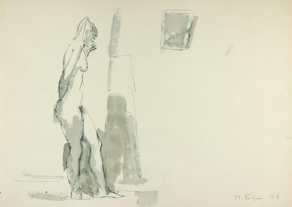 Бирштейн Макс Авадьевич (1914–2000) «Обнаженная». 1991. Бумага, тушь, перо, кисть, 36,5×51,2см.