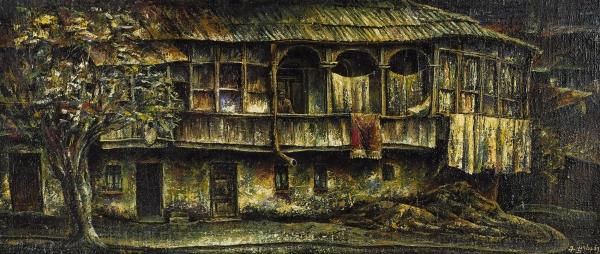 Джохадзе Мераб Амбакоевич (род.1949) «Старый дом вТбилиси». 1992. Фанера (?), масло, 35×80см.