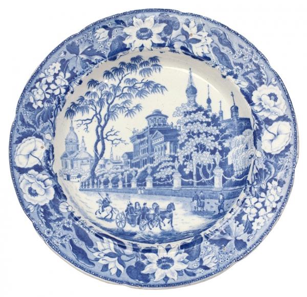 Тарелка «Дом П.Е. Пашкова вМоскве» Англия. 1820-е-1830-е. Фаянс, деколь. Диаметр 22см.