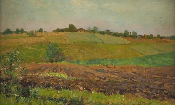 Левитан Исаак Ильич (1860–1900) «Летний пейзаж. Пашня». Конец 1880-х—1890-е. Бумага накартоне, масло, 17,9×29,6см.