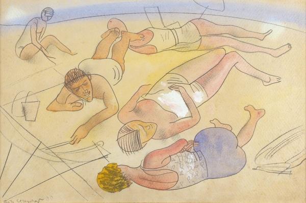 Григорьев Борис Дмитриевич (1886–1937) «Пляж». 1933. Бумага, графитный карандаш, акварель, гуашь, 30,8×46,7см.