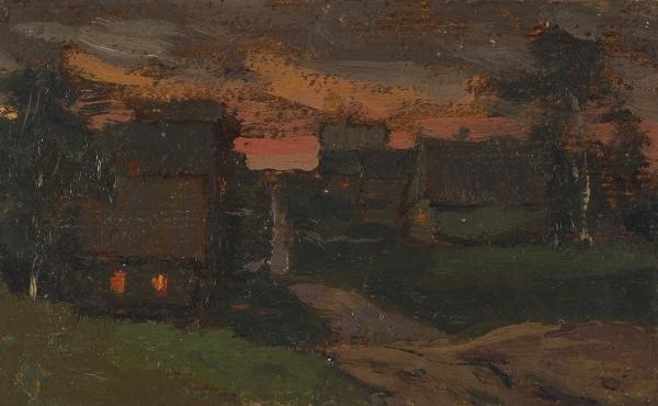 Левитан Исаак Ильич (1860-1900) «Деревенский пейзаж». Этюд. Конец 1890-х. Картон, масло, 9,5×15,3см.