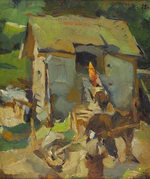 Архипов Абрам Ефимович (1862–1930) «Намельнице». 1910. Картон, масло, 37,5×31,2см.