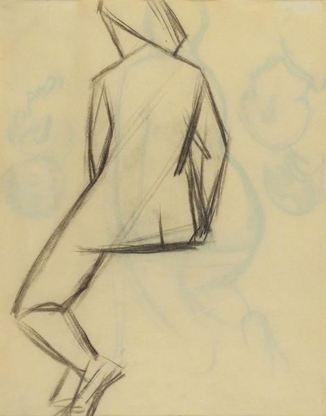 Татлин Владимир Евграфович (1885–1953) «Сидящая натурщица». Двусторонний рисунок. 1910-е. Бумага, уголь, 33,8x26,9см.
