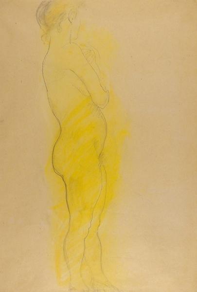 Фальк Роберт Рафаилович (1886–1958) «Портрет Раисы Вениаминовны Идельсон». Наобороте «Стоящая обнаженная». 1928-1929. Бумага, графитный карандаш, желтая пастель, 63,5×43,5см.