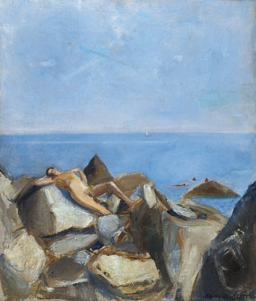 Лабас Александр Аркадьевич (1900–1983) «Отдых наберегу моря». 1935. Холст, масло, 48,3×40,5см.