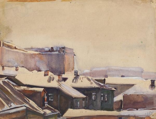 Алексеев Адольф Евгеньевич (1934–2000) «Крыши Москвы». 1953. Бумага, акварель, белила, 21,7x28,2см.