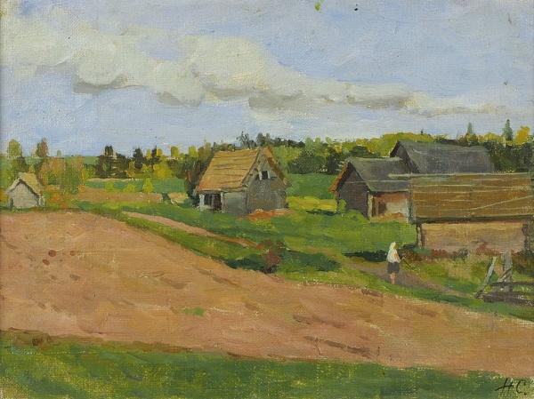 Сергеев Николай Сергеевич (1908–1989) «Около пашни». 1950-е. Холст, масло, 18×24см.
