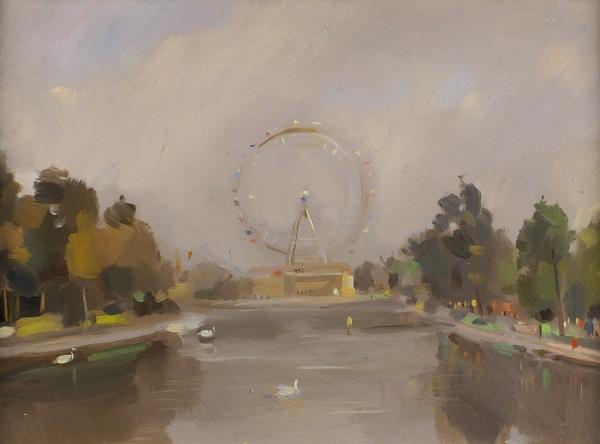 Никритин Соломон Борисович (1898–1965) «Парк Горького». 1950-е. Картон, масло, 27,5×38см.
