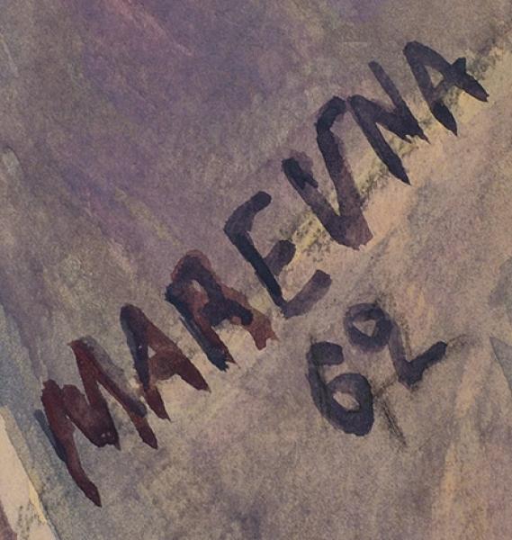 Маревна (Воробьева-Стебельская) Мария Брониславовна (1892–1984) «Портрет внука». 1962. Бумага, смешанная техника, 77×56см.