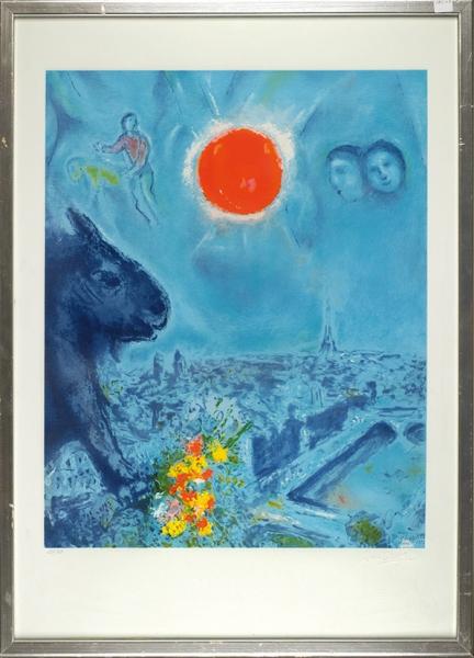 Шагал Марк Захарович (1875–1985) «Солнце Парижа (LeSoleil deParis)». 1977. Бумага, цветная литография, 99,5×69см (лист всвету).