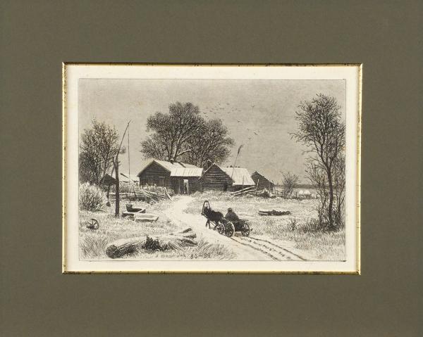 Шишкин Иван Иванович (1832–1898) «Крестьянин нателеге». 1885-1892. Бумага, офорт, 19×25см (лист), 13,8×20,5см (оттиск).