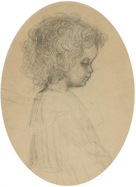 Якулов Георгий Богданович (1884–1928) «Портрет девочки». Наобороте «Всадник». 1900-е. Бумага, графитный карандаш, 27,5×20, к(всвету).