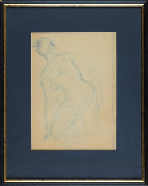Кольцов Сергей Васильевич (1892–1951) «Обнаженная». Середина 1920-х. Бумага, синий карандаш, 26×18,6см (всвету).
