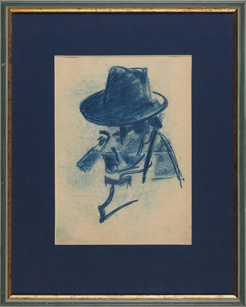 Нисский Георгий Григорьевич (1903–1987) «Мужчина вшляпе». Наобороте «Мужчина вкепке». 1920-е. Бумага, синий карандаш, 25×17,4см.