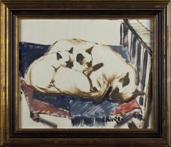 Клуге Константин Константинович (1912–2003) «Сиамские кошки». 1960-е. Холст, масло, 38,5×46,5см.