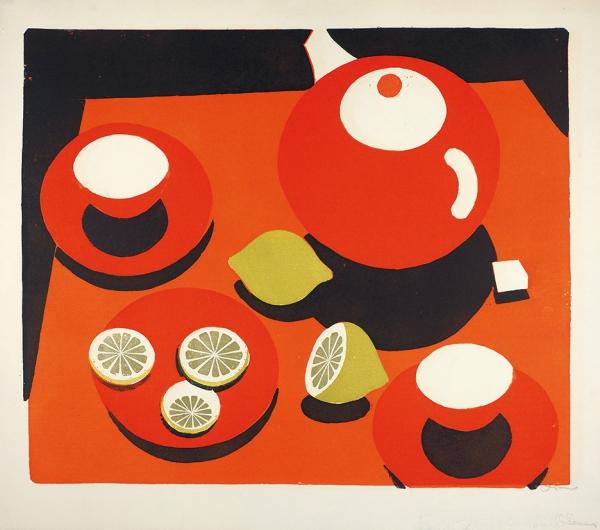 Обросов Игорь Павлович (1930— 2010) «Натюрморт слимонами». 1960-е. Бумага, цветная автолитография, 46×52см (лист).