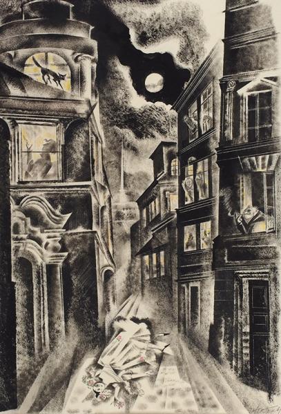 Гольц Ника Георгиевна (1925–2012) Иллюстрация кпроизведениям В.Ф. Одоевского.1986. Бумага, смешанная техника, 50×34см (всвету).