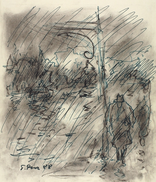 Рыбченков Борис Фёдорович (1899–1994) «Ветер. Дождь. Впечатление». 1988. Бумага, уголь, соус, фломастер, 32x27,3см.