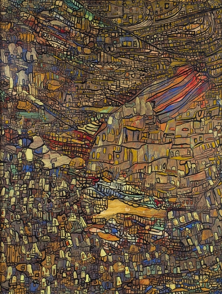 Хантадзе-Андроникашвили Русудан Давидовна (род.1937) «Тбилиси». 1991. Бумага, смешанная техника, 67x52см (всвету).