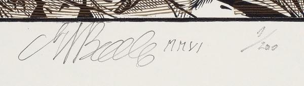 Верхоланцев Михаил Михайлович (род.1937) Экслибрис. «Поединок». 2006. Бумага, ксилография, 23,5×16,3см (лист), 13,5×9,5см (оттиск).