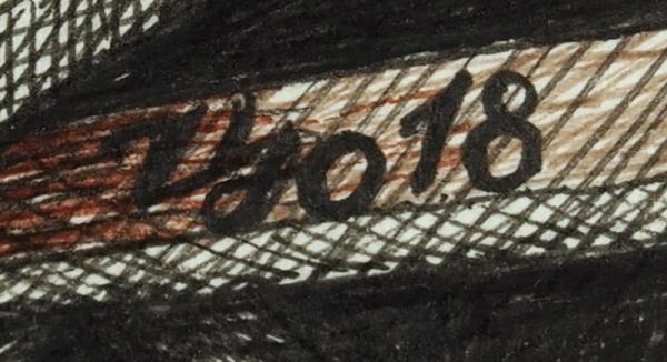 Царевский Юрий Витальевич (род.1968) «Зал ускользающих шагов». 2018. Бумага, линеры, тушь, изограф, кисть, 41,7×52,4см.