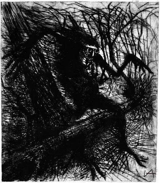 Архипов Иван «Чупакабра». 2013. Бумага, офорт. 69×57см (лист), 63×55см (оттиск).