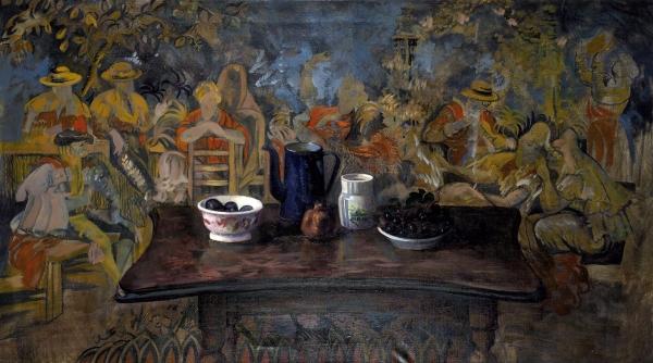 Гонкова Юлия «Haunted table». 2014. Холст, масло, масляная пастель. 150×85см.