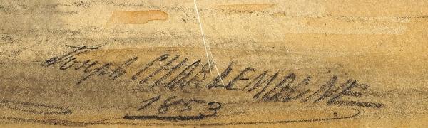 Шарлемань Иосиф Иосифович (Боде-Шарлемань Иосиф-Мария) (Joseph-Maria Charlemagne-Baudet) (1824–1870) «Вид Санкт-Петербурга». 1853. Папье-пелле, графитный карандаш, акварель, процарапывание, 14×21,8см.