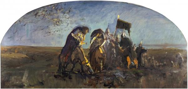 Серов Валентин Александрович (1865–1911) «После Куликовской битвы». 1895. Холст, масло, 60×117см.