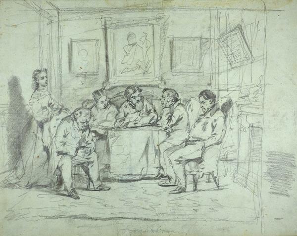 Маковский Владимир Егорович (1846–1920) «Зачтением». Эскиз-вариант картины «Литературное чтение» (1866, ГТГ). Наобороте «Две фигуры». Середина 1860-х. Бумага, графитный иугольный карандаши, 44×55см.