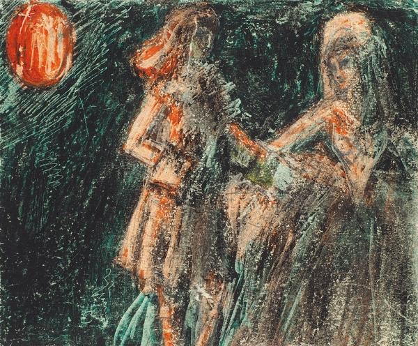 Челищев Павел Федорович (1898–1957) «Свидание». Около 1914. Бумага, смешанная техника, 12,7×15,2см.