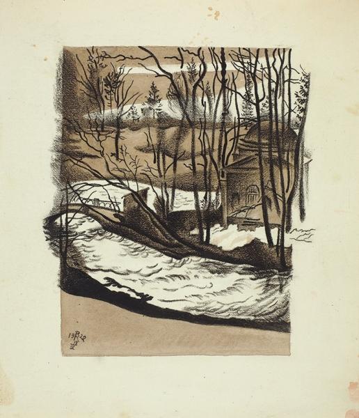 Конашевич Владимир Михайлович (1888–1963) «Холодная баня. Павловск». 1922. Бумага, смешанная техника, 28×24,5см.