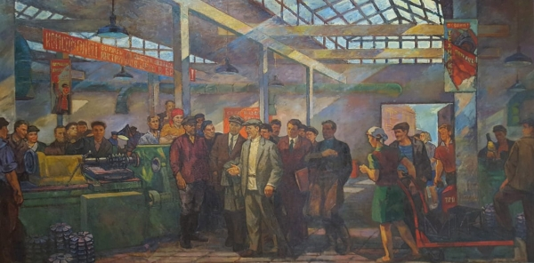 "[215x436см!] Осмёркин Александр Александрович (1892–1953) «М.И. Калинин назаводе ""Серп имолот""». Около 1931. Холст, масло, 215x436см."