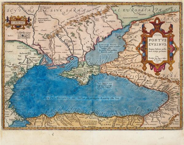 Карта Черного моря (Понт Эвксинский), Северного Причерноморья иКрыма/ карт. А.Ортелиус. [Pontus Euxinus. Aequor Iasonio pulsatum remgie primum]. 1590.