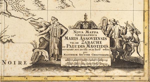 Новая географическая карта Азовского моря, иначе моря Забаш или Меотийского болота/ карт. М.Зойтер. [Nova Mappa Geographica Maris Assoviensis Vel DeZabache EtPaludis Maeotidis]. Аугсбург, 1730.