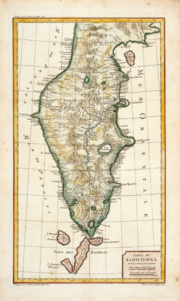 Карта Камчатки/ карт. Ж.Беллин. [Carte duKamchatka. Dressee etgravee par Laurent]. Париж, 1757.