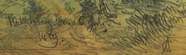 Шарлемань (Charlemagne) Адольф Иосифович (1826–1901) «Пейзаж сзамком». 1859. Бумага накартоне, графитный карандаш, акварель, 23,3×20,7см.